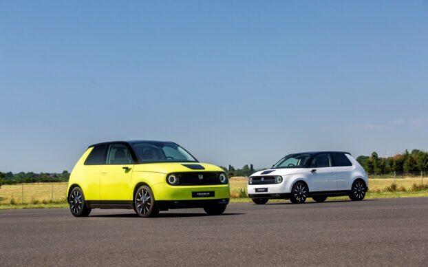 Honda e em amarelo e branco