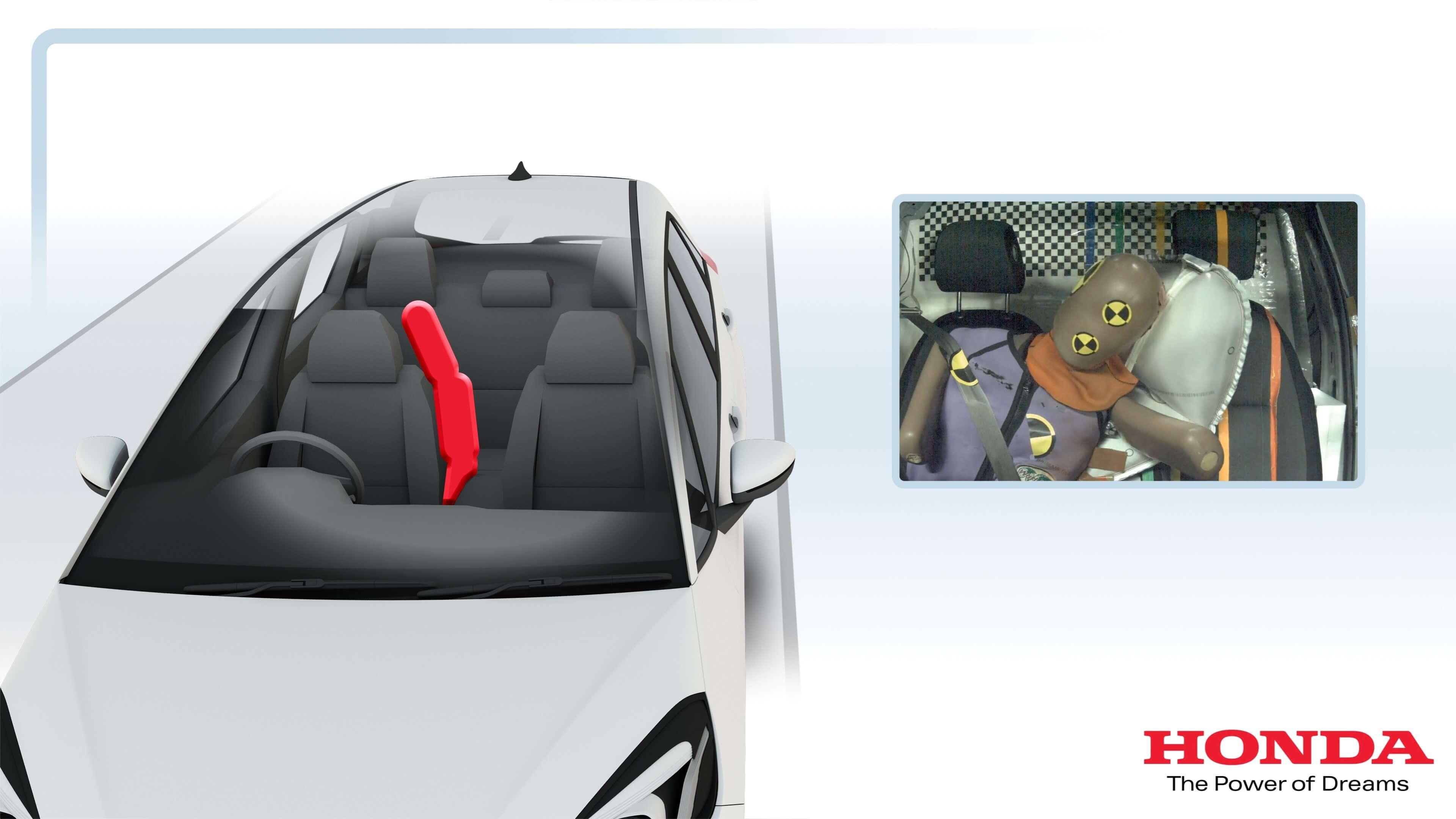 Testes do airbag dianteiro central do novo Honda Jazz