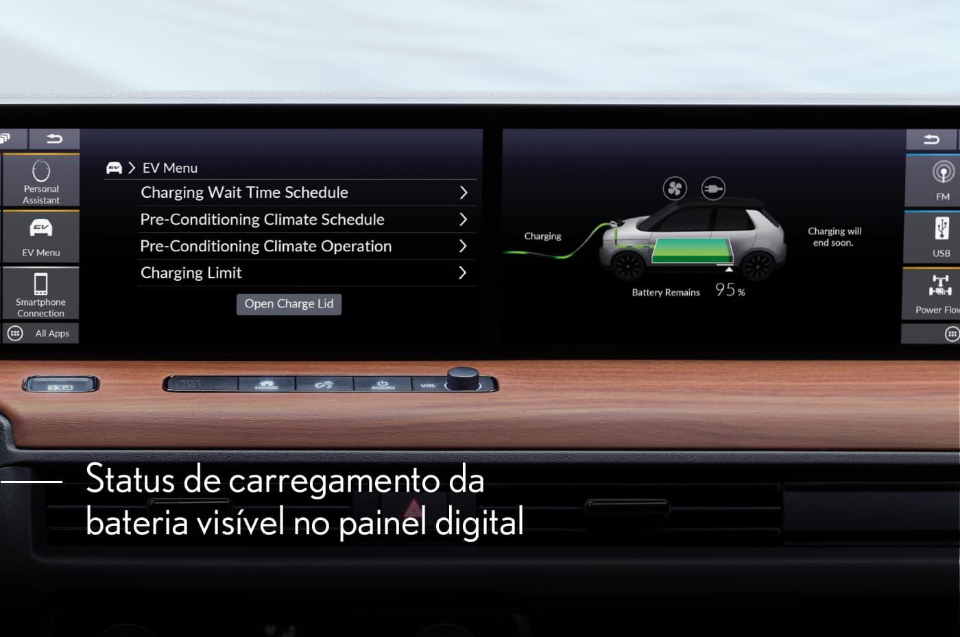 Status de carregamento da bateria visível no painel digital